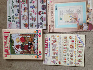 Mary Englebreit Hard Cover Cross Stitch Book plus 3 other bookle