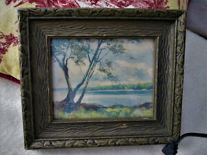 Antique framed small print in wood frame