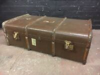 Large Victorian bent wood steamer trunk