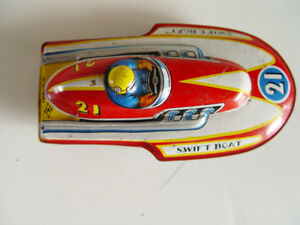 Vintage Tin Friction Toy Speed Boat #21