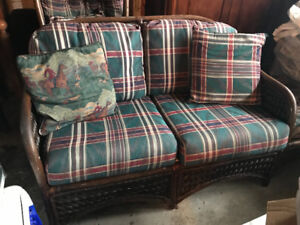 Elegant wicker couch and chair set