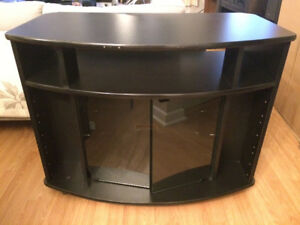 TV stand with 2 glass doors on casters - $10/best offer