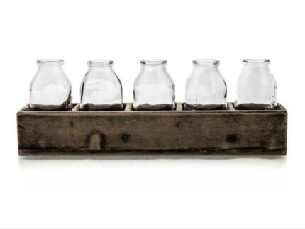 Set of 5 Retro Milk Bottles, Vase in Wooden Rustic Timber Crate Penrith Penrith Area Preview