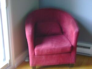 red microfibre chairs