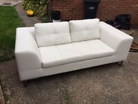 Dwell White Leather Sofa 2 seater