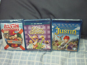 THREE NEW KIDS BLU-RAY MOVIES SEALED CHIPWRECKED DISCO WORMS +
