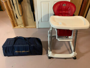 Peg-Perego red leather High Chair plus Eddie Bauer Pack & Play