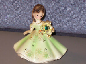 "Vintage Josef Originals May Birthday Lady 4"" Ceramic Figurine"