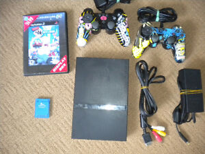 Playstation 2 (PS2) System With Simpsons Controllers/Game