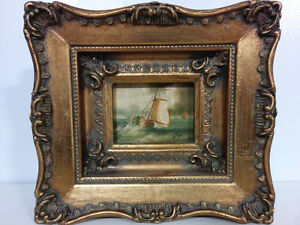 Original Signed Oil Painting In Ornate Gilt French Gold Frame