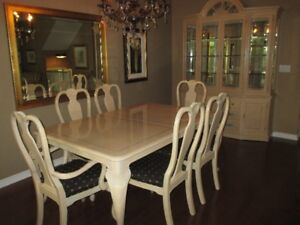 SOLID PECAN DINING SET, BUFFET, HUTCH (2 LEAVES)