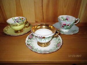 VINTAGE Cup & Saucers - BONE CHINA - 3 sets for $10 TOTAL