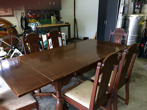 Antique Dining Table and Chairs (1920s)
