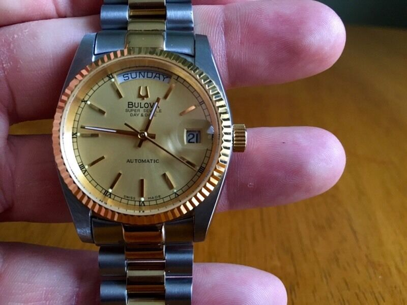 Bulova Super Seville two tone not Rolex Day&Datein East End, GlasgowGumtree - My Bulova Super Seville Day&Date two tone. Beautiful automatic 25 jewels swiss watch. 100% genuine. Replacement bracelet. Only serious offers. £300 ono