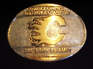 Calgary Flames Gold and Silver belt buckle