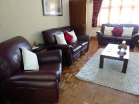 Burgundy red fully reclining leather 3 piece suite (2 sofas and 1 armc