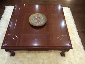 Solid Wood Vintage Antique Glass top Coffee Table