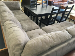 Gray Suede Sectional Couch