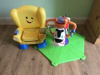 Fisher Price Bounce and Spin Zebra and Laugh and Learn Chair
