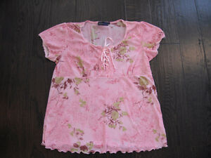 Ladies Pink Thyme Maternity Short Sleeve Top Size Large