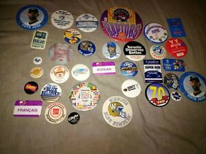 Raptors Jays Leafs collectible old Buttons Pins + Bobblehead