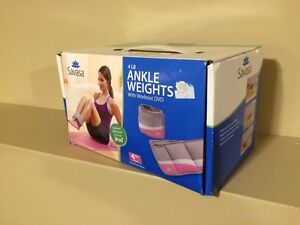 Savasa 4lb Ankle Weights Set with Workout DVD - Brand new