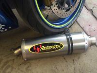 Akrapovic titanium exhaust slip on end can. Taken from GSXR1000 k2