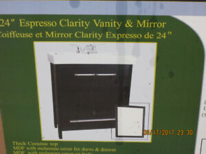 brand new vanity with mirror and the faucet Still in box