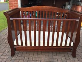 Cot bed baby cot Rich Walnut colour, Hollie Sleigh bed