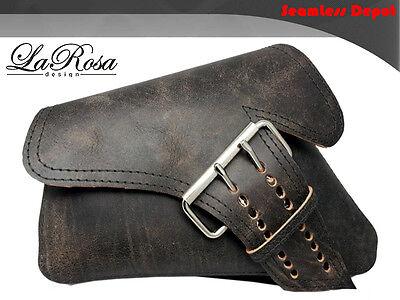 La Rosa HD Seventy Two 883 48 Side Strap Left Saddlebag - Rustic Black Leather