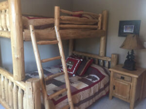 Solid pine bunk beds. Double on the bottom, single on top