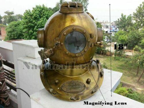 Antique Lens Copper Brass Morse Divers Diving Helmet Sea Boston Helmet Costume