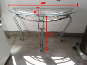 Glass and iron half moon console/hall table