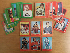 Almost 70 non-mint cards from the 1973-74 O-pee-chee hockey set
