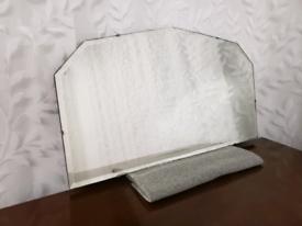 Vintage art deco bevelled edge mirror on chain