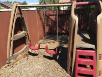 Swing set with slide and fort