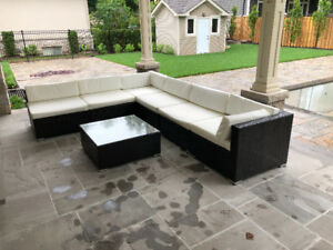 7 Pc Wicker Sectional outdoor furniture conversation set