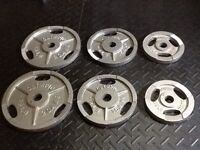 """210 lbs Olympic Weight Plates 2"""" mint condition"""
