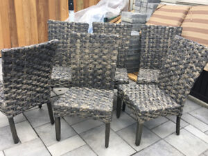 6 New All Weather Woven Resin Wicker  patio chairs set