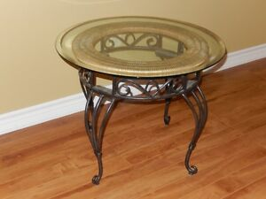 End Table Wrought Iron with Glass Top