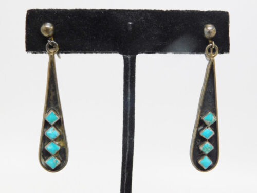 Rare Zuni Screwback Earrings Shadowboxed w Four carved Turquoise Stones Dangles