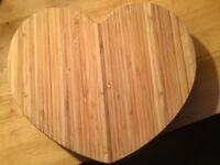 4x Wooden Heart Shaped Place Mats