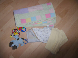 3 baby blankets and a few baby toys