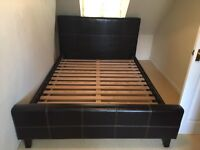 Dark Brown Leather King Size Bed £125