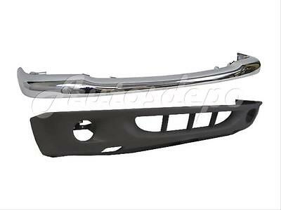 (For 2001-2004 DAKOTA FRONT BUMPER BAR CHR UPPER & LOWER VALANCE W/FOG HOLE 2PCS)