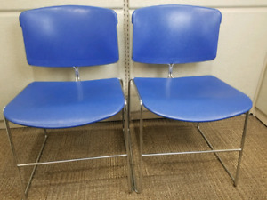 "Set of 2 Steelcase blue Max Stacker chairs 18.5"" x 18"" x 30"""
