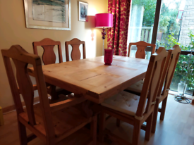 Rustic Wooden Dining Table & 6 Wooden Chairs