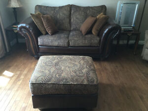 Causeuse(loveseat) + ottoman/ loveseat (couch)+ footrest