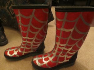 """""""Spiderman"""" Rubber Boots - Custom Painted - Size 1"""