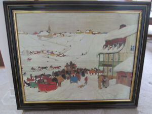 "Clarence Gagnon "" Horse Race in Winter "" framed art"